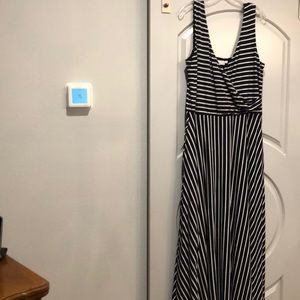Navy blue striped maxi flare dress.